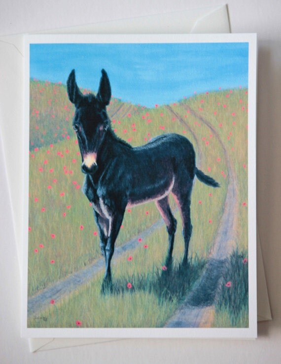 Fine Art Greeting Card, Blank Greeting Cards, Mule art, horse art, pastel painting, Equestrian art