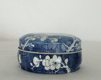 English Tin Box/Container and Lid Daher Blue and White Dogwood Chinoiserie