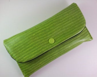 Coupon Holder, Coupon Pouch, Coupon Wallet, Cash Envelope Wallet - Lime Faux Leather