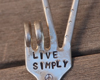 LIVE SIMPLY hand stamped Peace Sign Garden marker FORK with dots on Tines Plants and Herbs
