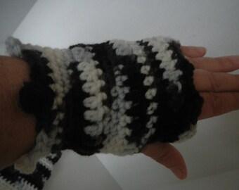 Black and White Hand Crocheted Fingerless Hand Warmers