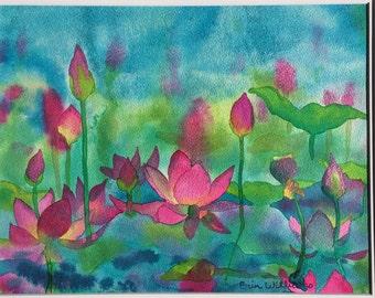 Pink Lotus Flowers Blooming in Pond Watercolor Painting, Rising Lotus Fine Art Print