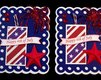 4th of July Fire cracker Scrapbook Embellishment, Cupcake Card Topper, Patriotic Embellishment, tags