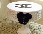 Charming French Inspired White Metal with Black Metal Flower Cake Cupcake Stand Plate