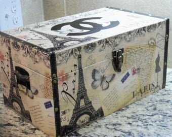 NEW!! French Inspired Charming Wood and Vinyl French Motif Storage Chest Box Home Decor