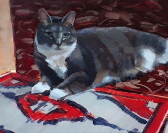 "Archival 8"" x 12"" Art Print / Free Shipping /  Izzy on Oriental Rug (no.134) Oil Painting Realism Cat Pet Kitten Animal 2016"