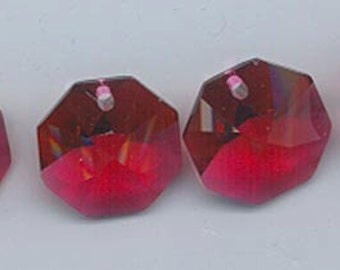 Four Swarovski Strass bordeaux lily octagons - Art. 8115 - 14 mm