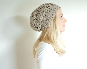 SUMMER SALE the SUMTER hat - Slouchy hat beanie crocheted - natural mix - wool
