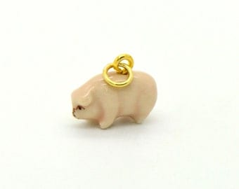 Tiny Porcelain Pig Charm Miniature Pig Pendant Hand Painted Porcelain Charm Glass Pig Charm Vintage Style Jewelry Supplies (AT080)