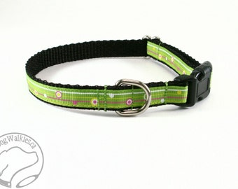 "Fun Lime Striped Dots Dog Collar - 1/2"" (13mm) wide - your choice of style and size / Pink Stripe / Green Stripe"