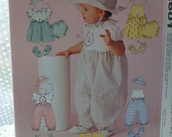 Baby Rompers, Dress, Sunhat, Panties, Shoes McCall's 2601 Sewing Pattern Infant Sizes S, M, L, XL, 13-24 Lbs., 6M 9M 12M 18M UNCUT