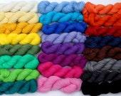 Cuff, Heel and Toe Semi-Solid Mini Skeins in Superwash Merino and Nylon 75/25 Fingering Weight yarn