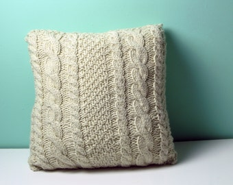 Knitted square cable pillow cover - MADE-TO-ORDER Decorative, cabled throw pillow natural/ecru pillow cover