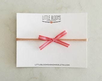 SALE - Red Gingham Bow Headband