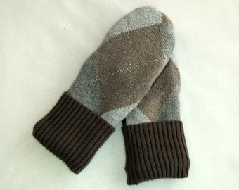 Recycled Cotton and Cotton Blend Mittens Fleece Lined -Women's  Mitten Gift Under 50