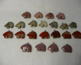Zuni Bear Gemstone Pendants  22 Piece Lot