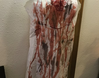 Bloody Sexy Vintage Full Slip. Tattered and Bloodied Zombie Bombshell, Bloody Mary, Vampire, Psycho, Dead Girl. Adult L/XL