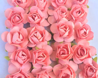 Set of 24 Baby Pink Mulberry Paper Flowers