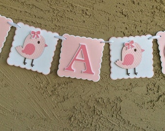 Baby shower banner. It's A Girl. Pink bird baby shower sign. Little Birdie baby shower banner. It's a girl pink banner