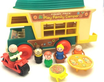 Vintage Fisher Price Play Family Camper 994  1973-1976 With Boat, Motorcycle, Accessories  and Little People Family