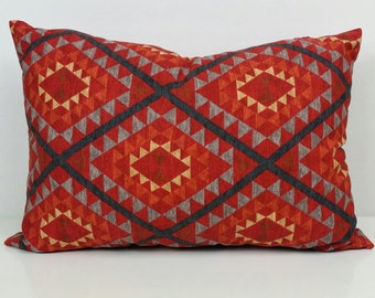Geometric Aztec Print Pocket Pillow, Rust