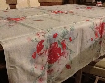 1950 Tablecloth Baby Blue Pink Red Flowers Vintage