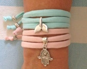 wrap bracelet, t shirt fabric bracelet, mermaid jewelry, bohemian accessory, beach bracelet, beachcomber jewelry