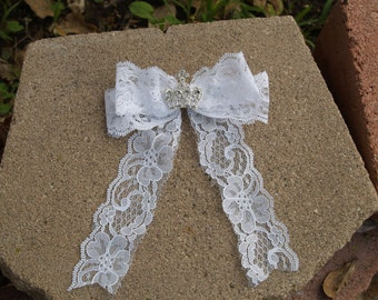 Lace Bow Crystals Crown for Flower Girls, First Communion Head piece instead of Veil, Hair bow, Corona, Bling Crown