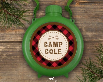 Canteen Labels - Red Buffalo Plaid - Camp Theme - Printable