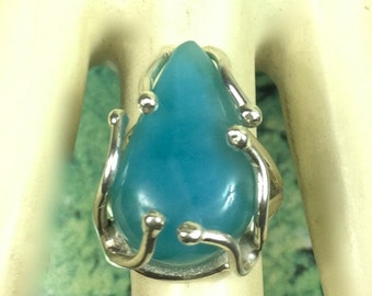 Beautiful Nice Deep  Blue Larimar   Ring  Size  5 *5