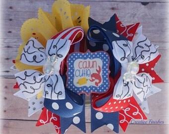 Louisiana Hair Bows, Red White Blue Bows, Cajun Cutie Bow, Over the Top Bows