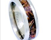 Titanium Camouflage Hunting Men's Ring Beveled Edge Comfort Fit Wood Inlay Wedding Band