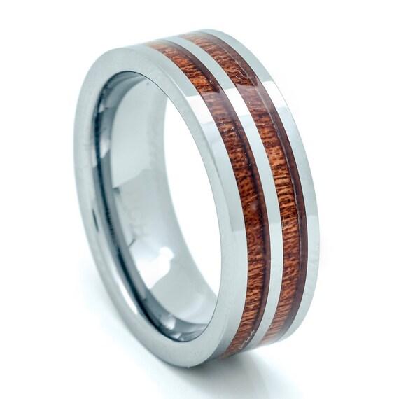 tungsten hawaiian koa wood mens wedding ring 8mm comfort fit