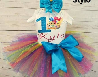 colorful birthday outfit,FREE SHIPPING, birthday,birthday girl outfit, disney princess birthday tutu,shimer and shine ,girl birthday outfit