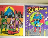 2 Vintage DC Comics Wooden Wood Puzzles Superman Batman Joker Two
