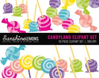 Candy Land Clipart - Candy Clipart Set - Sweet Clipart Set - Set of 26 - COMMERCIAL USE Read Terms Below