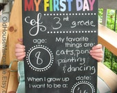 READY TO SHIP - First Day of School Chalkboard Sign - Hand Painted Sign