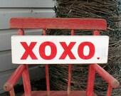 XOXO Valentine's Day Love Shelf Sitter Hand Painted Art