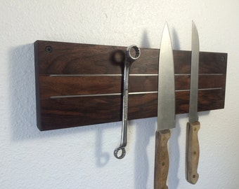 Super Pull Walnut Magnetic Knife Rack. Free U.S. Shipping