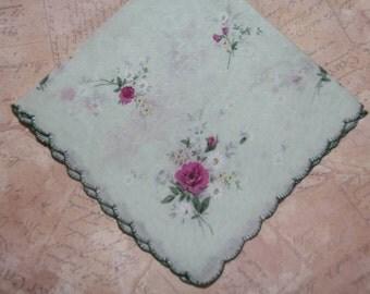 Vintage Hankie Handkerchief Pink and Green Floral Design