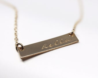 Gold Filled Bar Necklace // Personalized