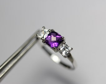 Charming Genuine Amethyst Checkerboard in a Pretty Accented Sterling Silver Setting
