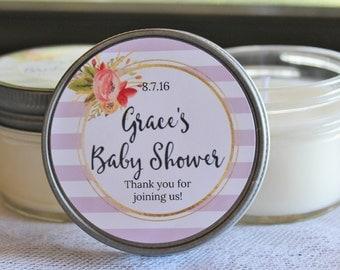 Floral Baby Shower Favor//Stripe Baby Shower Favor//Set of 12 4 oz Candle Favors / Soy Candle Favor/ Baby Shower Candle Favor