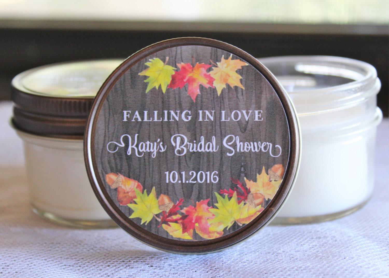 Set of 12 4 oz Fall Bridal Shower Candle Favor//Autumn