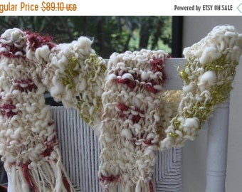 GIFT SALE SALE Bulky Hand Knit Scarf made of Super Soft Handspun Hand Dyed Yarn with sparkle