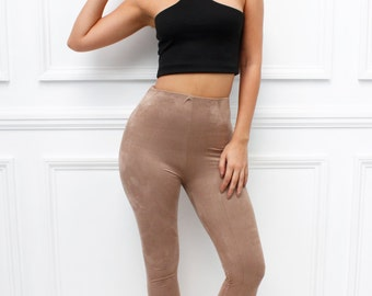 "Glamzam New Womens Ladies ""Bibi"" Beige Faux Suede Suedette High Waisted Skinny Slim fit Leggings"