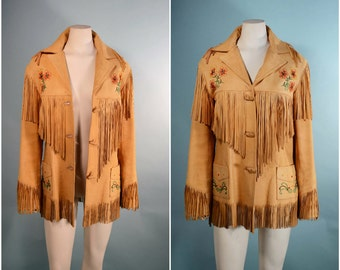 Vintage 50s Beaded Leather Fringe Country Western Jacket/Chris Line Originals Rockabilly Cowgirl Rodeo/ Boho Southwestern Hipster SZ M