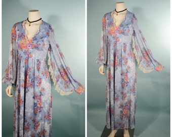 VTG Blue Floral Angel Sleeve Boho Hippie Maxi Dress/Romantic Poet Sleeve Lacey Music Festival Fair Dress/Goddess Gypsy Bohemian Dress SZ S
