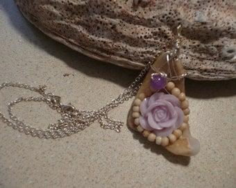 Lavender rose, Alexandrite bead, vintage bone beads on shell pendant/necklace