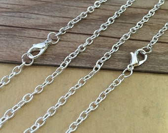 20pcs  18inch Silver color  Link  chain With Lobster Clasp 3mm